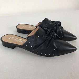 NANETTE LEPORE: black silver studded bowtie mules